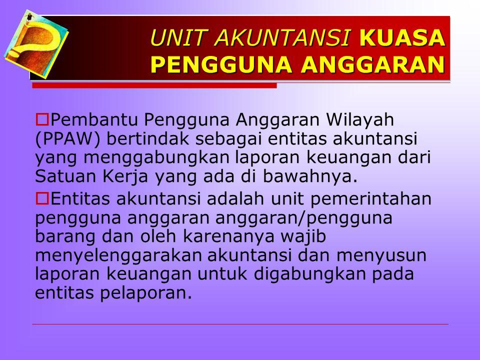 UNIT AKUNTANSI KUASA PENGGUNA ANGGARAN  Pembantu Pengguna Anggaran Wilayah (PPAW) bertindak sebagai entitas akuntansi yang menggabungkan laporan keuangan dari Satuan Kerja yang ada di bawahnya.