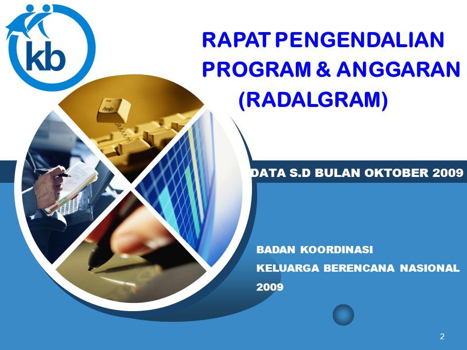2 DATA S.D BULAN OKTOBER 2009 BADAN KOORDINASI KELUARGA BERENCANA NASIONAL 2009 RAPAT PENGENDALIAN PROGRAM & ANGGARAN (RADALGRAM)