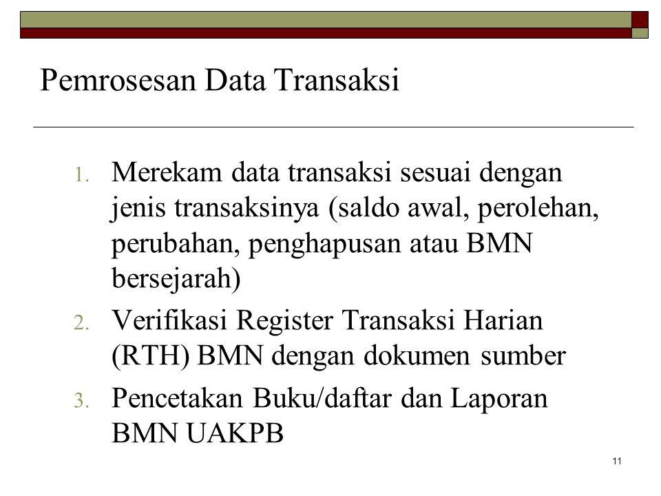 11 Pemrosesan Data Transaksi 1. Merekam data transaksi sesuai dengan jenis transaksinya (saldo awal, perolehan, perubahan, penghapusan atau BMN bersej