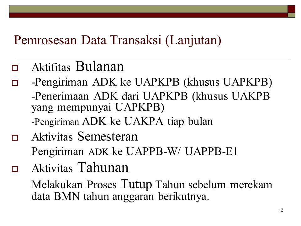 12 Pemrosesan Data Transaksi (Lanjutan)  Aktifitas Bulanan  -Pengiriman ADK ke UAPKPB (khusus UAPKPB) -Penerimaan ADK dari UAPKPB (khusus UAKPB yang