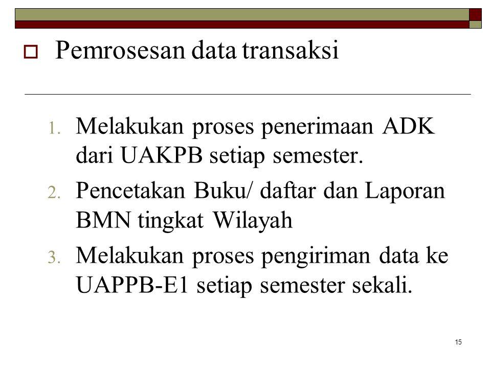 15  Pemrosesan data transaksi 1. Melakukan proses penerimaan ADK dari UAKPB setiap semester. 2. Pencetakan Buku/ daftar dan Laporan BMN tingkat Wilay