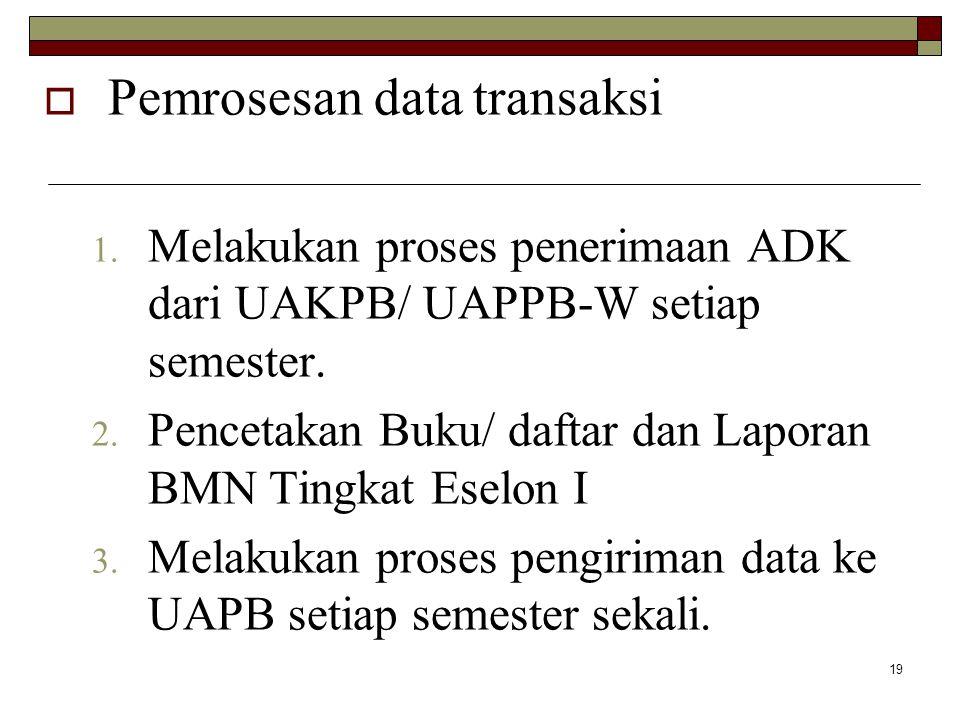 19  Pemrosesan data transaksi 1. Melakukan proses penerimaan ADK dari UAKPB/ UAPPB-W setiap semester. 2. Pencetakan Buku/ daftar dan Laporan BMN Ting