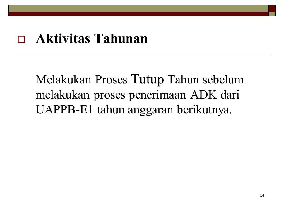 24  Aktivitas Tahunan Melakukan Proses Tutup Tahun sebelum melakukan proses penerimaan ADK dari UAPPB-E1 tahun anggaran berikutnya.