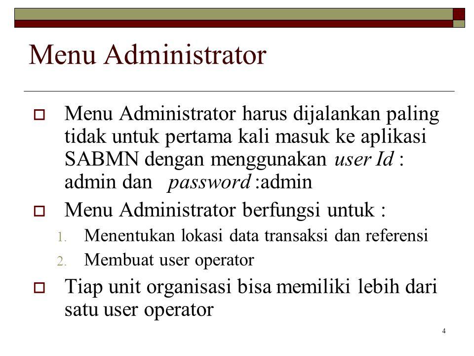 4 Menu Administrator  Menu Administrator harus dijalankan paling tidak untuk pertama kali masuk ke aplikasi SABMN dengan menggunakan user Id : admin dan password :admin  Menu Administrator berfungsi untuk : 1.