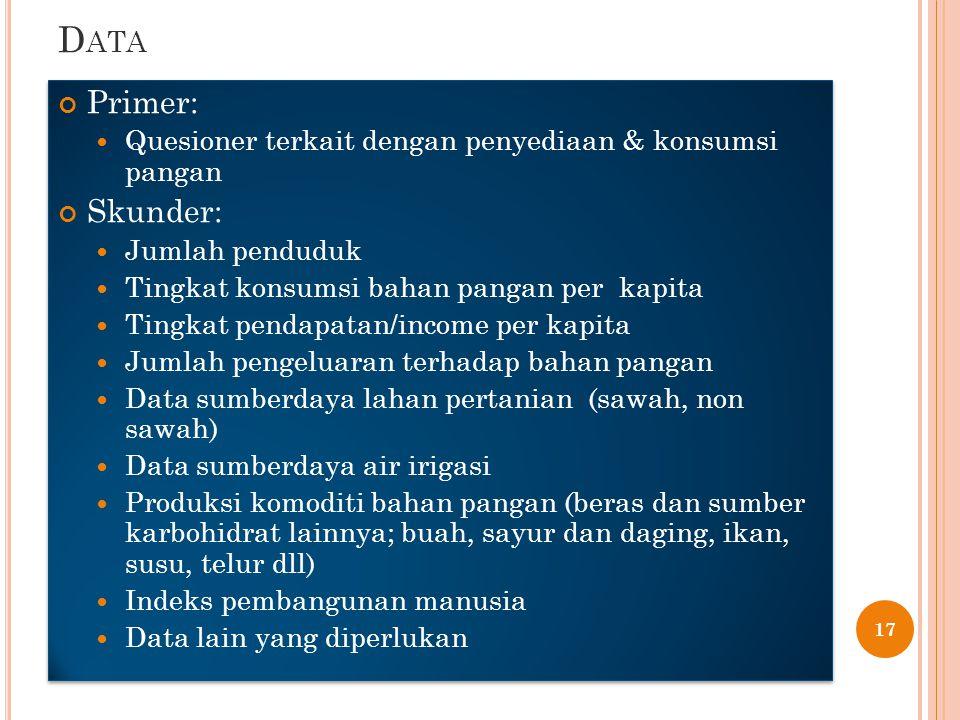 D ATA Primer: Quesioner terkait dengan penyediaan & konsumsi pangan Skunder: Jumlah penduduk Tingkat konsumsi bahan pangan per kapita Tingkat pendapatan/income per kapita Jumlah pengeluaran terhadap bahan pangan Data sumberdaya lahan pertanian (sawah, non sawah) Data sumberdaya air irigasi Produksi komoditi bahan pangan (beras dan sumber karbohidrat lainnya; buah, sayur dan daging, ikan, susu, telur dll) Indeks pembangunan manusia Data lain yang diperlukan Primer: Quesioner terkait dengan penyediaan & konsumsi pangan Skunder: Jumlah penduduk Tingkat konsumsi bahan pangan per kapita Tingkat pendapatan/income per kapita Jumlah pengeluaran terhadap bahan pangan Data sumberdaya lahan pertanian (sawah, non sawah) Data sumberdaya air irigasi Produksi komoditi bahan pangan (beras dan sumber karbohidrat lainnya; buah, sayur dan daging, ikan, susu, telur dll) Indeks pembangunan manusia Data lain yang diperlukan 17