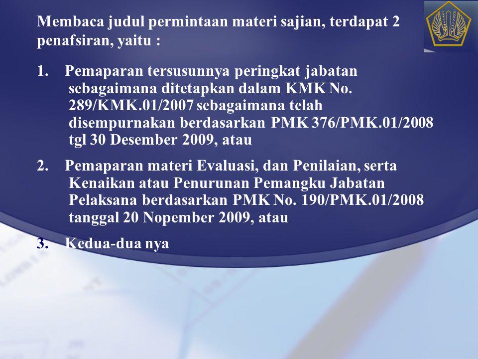 Membaca judul permintaan materi sajian, terdapat 2 penafsiran, yaitu : 1. Pemaparan tersusunnya peringkat jabatan sebagaimana ditetapkan dalam KMK No.