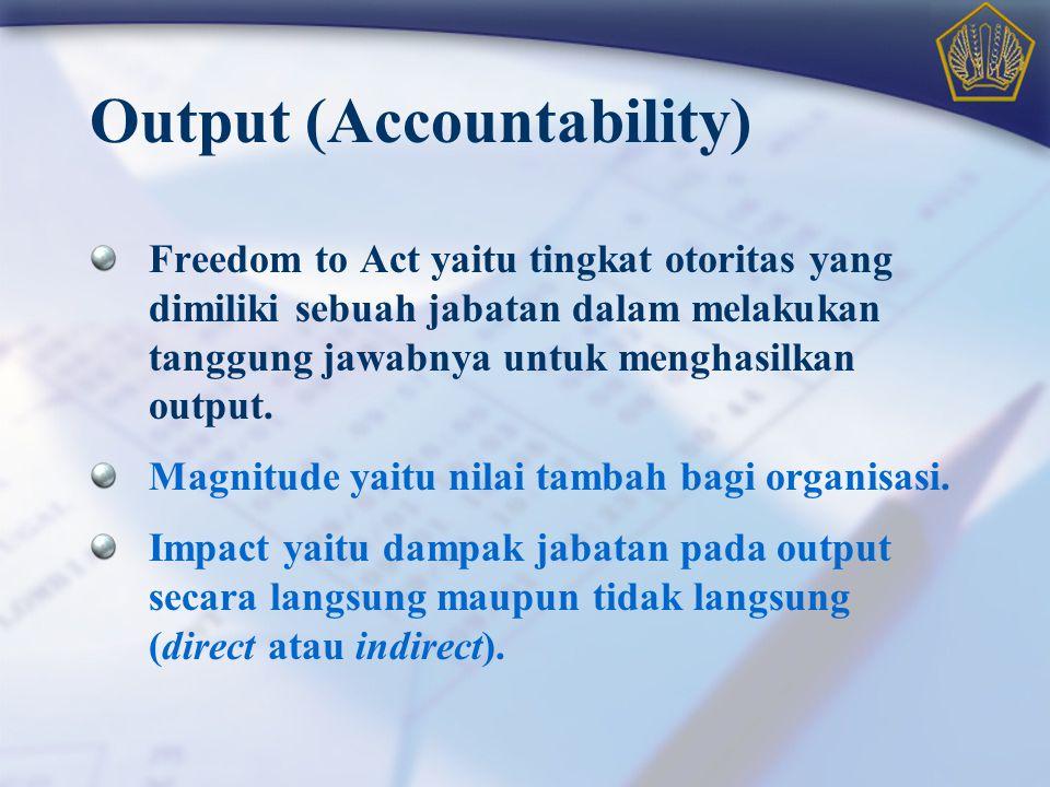 Output (Accountability) Freedom to Act yaitu tingkat otoritas yang dimiliki sebuah jabatan dalam melakukan tanggung jawabnya untuk menghasilkan output
