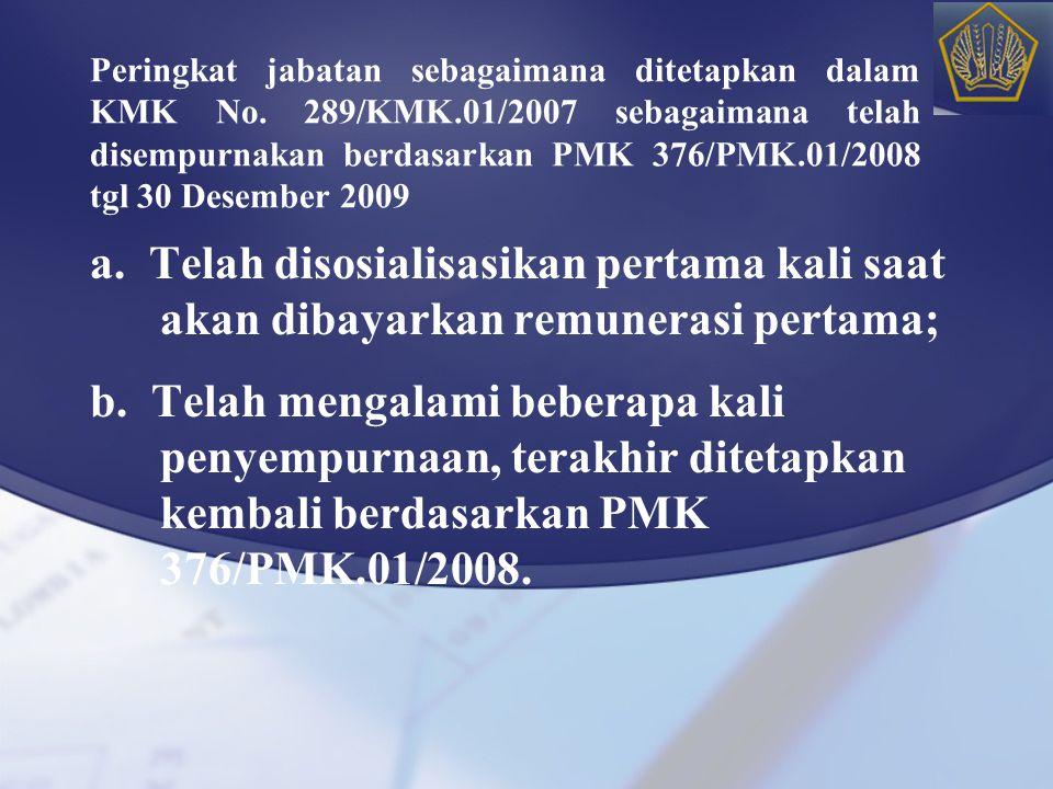 Peringkat jabatan sebagaimana ditetapkan dalam KMK No. 289/KMK.01/2007 sebagaimana telah disempurnakan berdasarkan PMK 376/PMK.01/2008 tgl 30 Desember