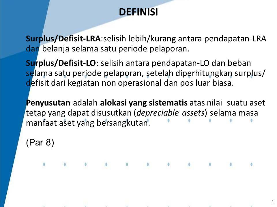 Surplus/Defisit-LRA:selisih lebih/kurang antara pendapatan-LRA dan belanja selama satu periode pelaporan. Surplus/Defisit-LO: selisih antara pendapata