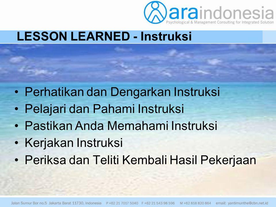LESSON LEARNED - Instruksi Perhatikan dan Dengarkan Instruksi Pelajari dan Pahami Instruksi Pastikan Anda Memahami Instruksi Kerjakan Instruksi Periks