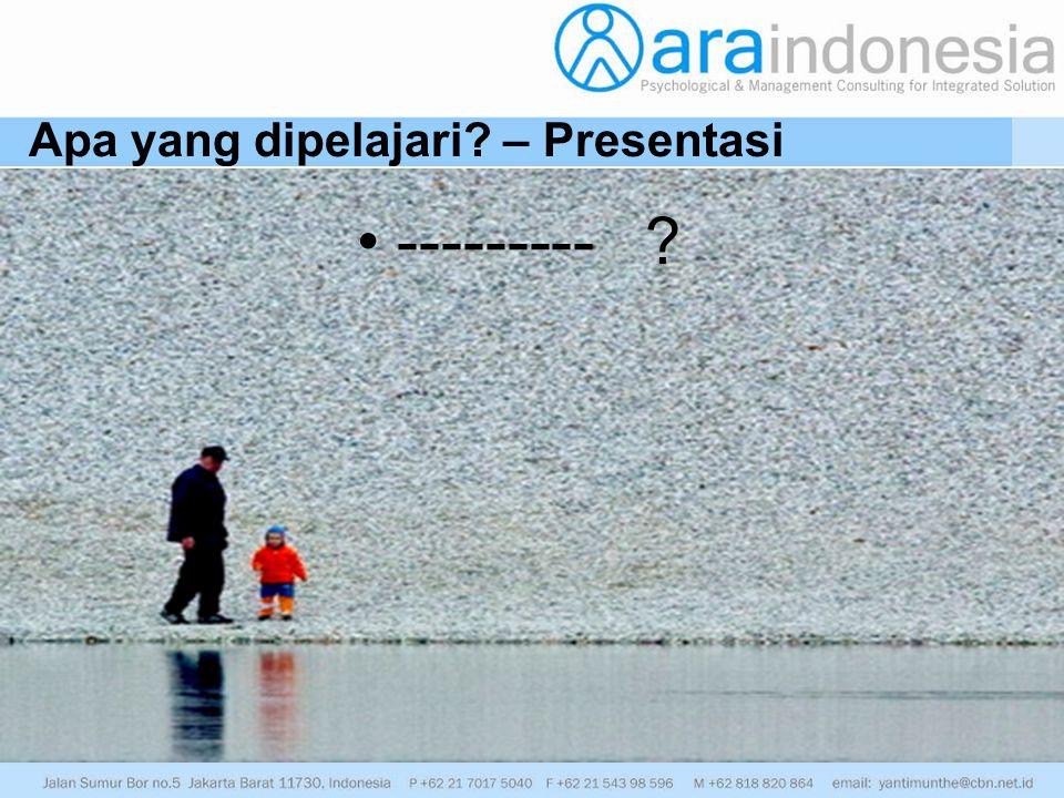 Apa yang dipelajari? – Presentasi --------- ?