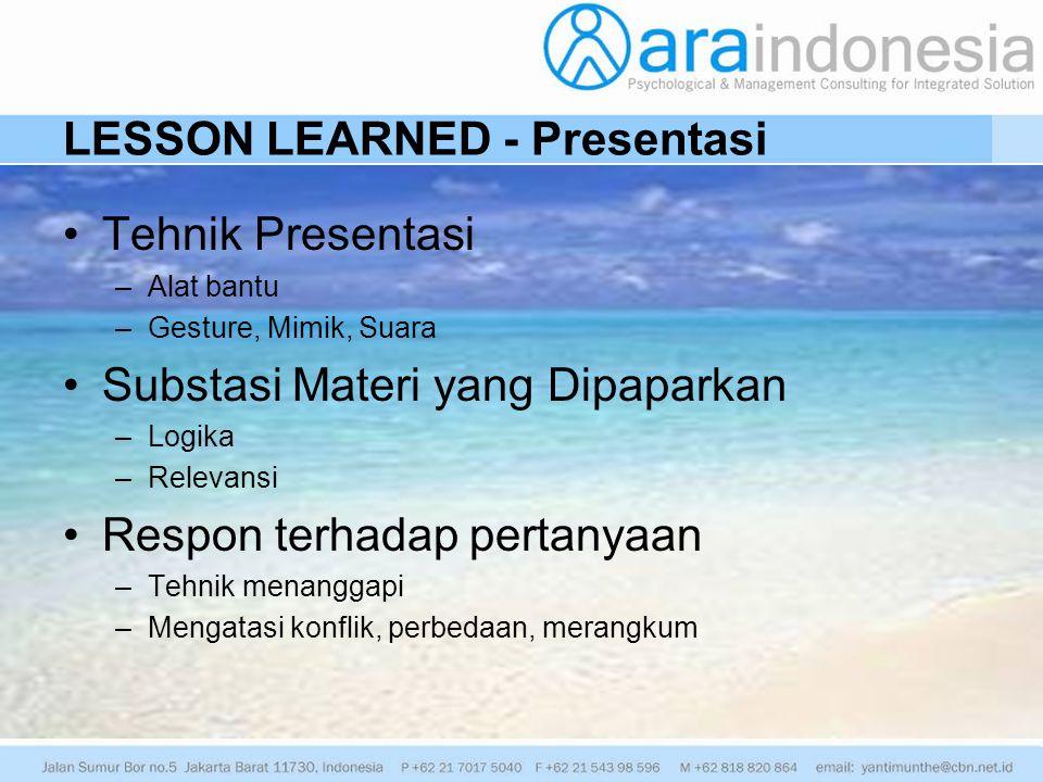 LESSON LEARNED - Presentasi Tehnik Presentasi –Alat bantu –Gesture, Mimik, Suara Substasi Materi yang Dipaparkan –Logika –Relevansi Respon terhadap pe