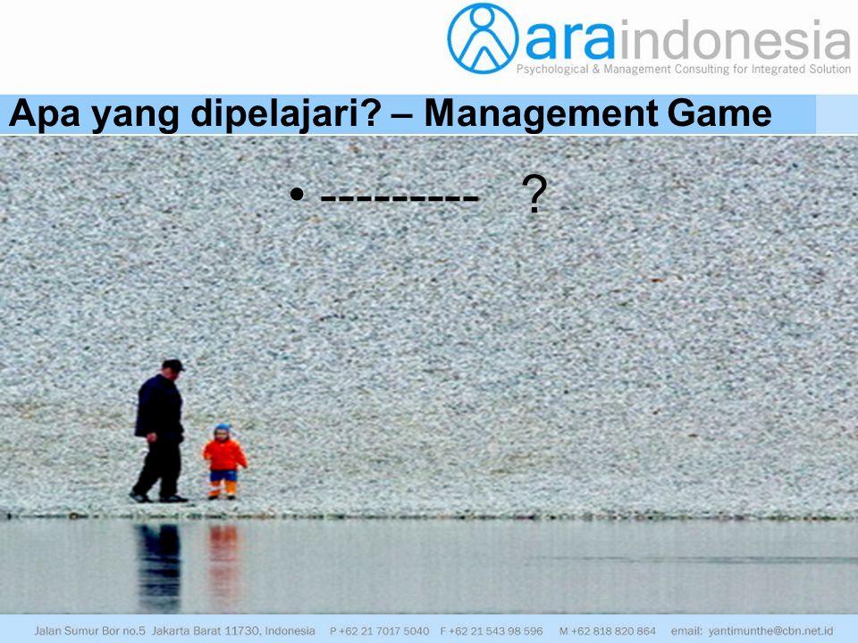 Apa yang dipelajari? – Management Game --------- ?