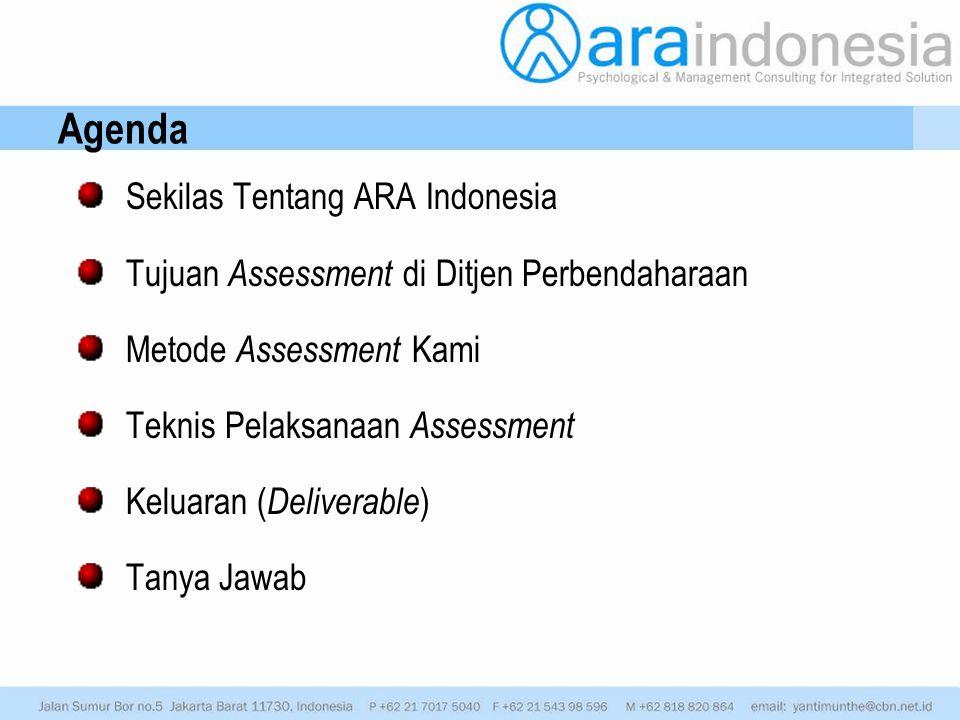 Sekilas Tentang ARA Indonesia Tujuan Assessment di Ditjen Perbendaharaan Metode Assessment Kami Teknis Pelaksanaan Assessment Keluaran ( Deliverable )