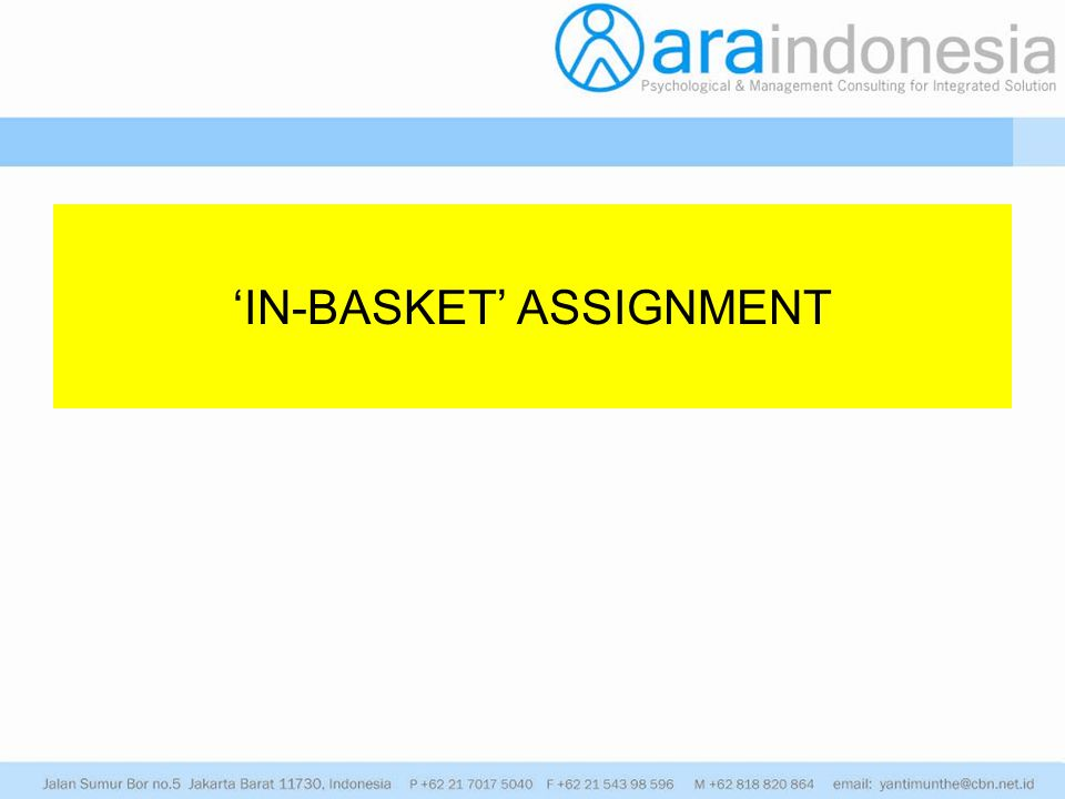 'IN-BASKET' ASSIGNMENT