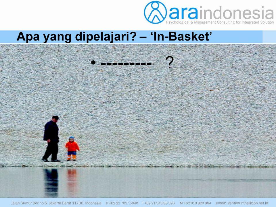 Apa yang dipelajari? – 'In-Basket' --------- ?