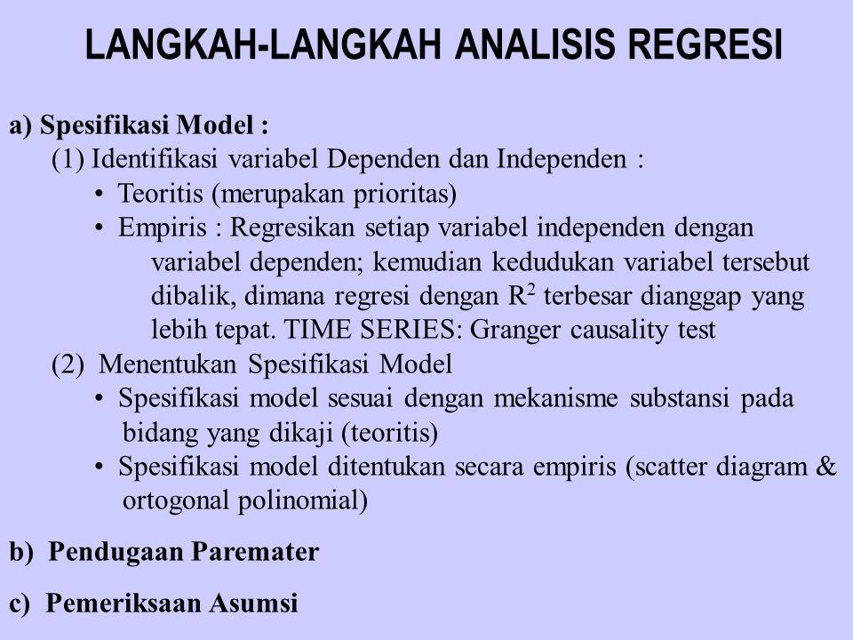 LANGKAH-LANGKAH ANALISIS REGRESI a) Spesifikasi Model : (1) Identifikasi variabel Dependen dan Independen : Teoritis (merupakan prioritas) Empiris : R