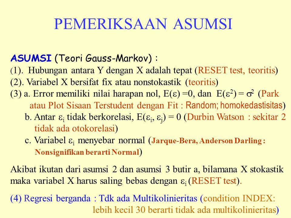 PEMERIKSAAN ASUMSI ASUMSI (Teori Gauss-Markov) : ( 1). Hubungan antara Y dengan X adalah tepat (RESET test, teoritis) (2). Variabel X bersifat fix ata