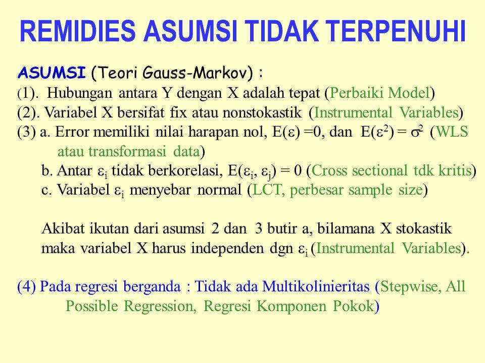 REMIDIES ASUMSI TIDAK TERPENUHI ASUMSI (Teori Gauss-Markov) : ( 1). Hubungan antara Y dengan X adalah tepat (Perbaiki Model) (2). Variabel X bersifat
