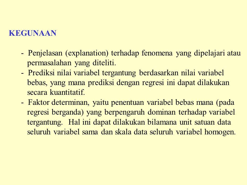 KEGUNAAN - Penjelasan (explanation) terhadap fenomena yang dipelajari atau permasalahan yang diteliti. - Prediksi nilai variabel tergantung berdasarka