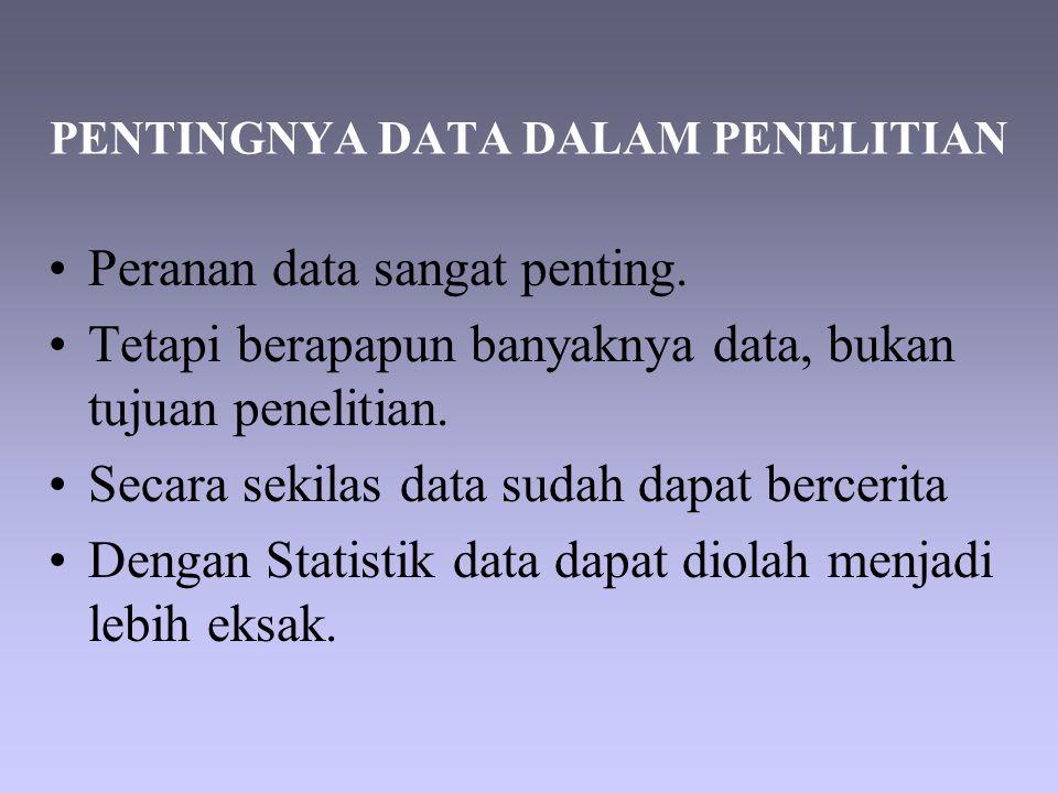 PENTINGNYA DATA DALAM PENELITIAN Peranan data sangat penting. Tetapi berapapun banyaknya data, bukan tujuan penelitian. Secara sekilas data sudah dapa