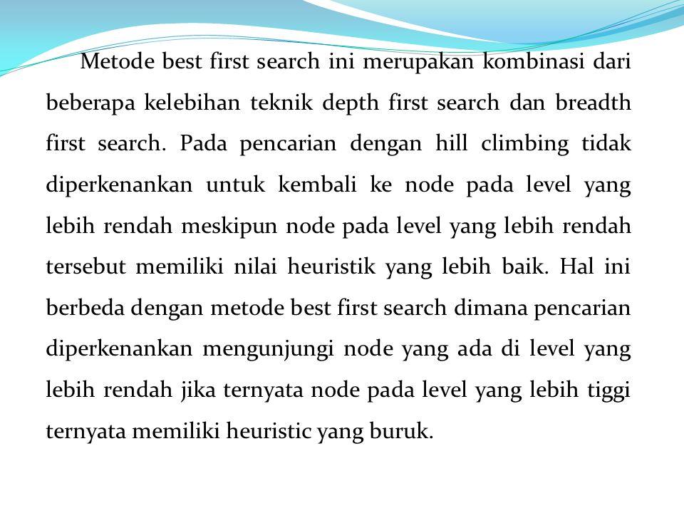 Metode best first search ini merupakan kombinasi dari beberapa kelebihan teknik depth first search dan breadth first search. Pada pencarian dengan hil