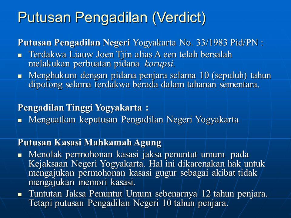 Putusan Pengadilan (Verdict) Putusan Pengadilan Negeri Yogyakarta No. 33/1983 Pid/PN : Terdakwa Liauw Joen Tjin alias A een telah bersalah melakukan p