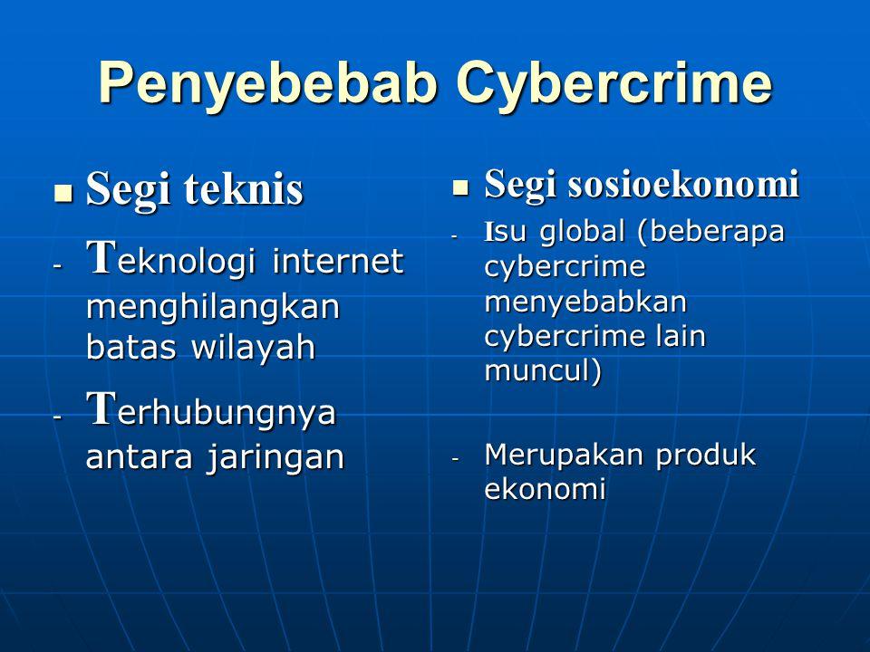 Penyebebab Cybercrime Segi teknis Segi teknis - T eknologi internet menghilangkan batas wilayah - T erhubungnya antara jaringan Segi sosioekonomi Segi