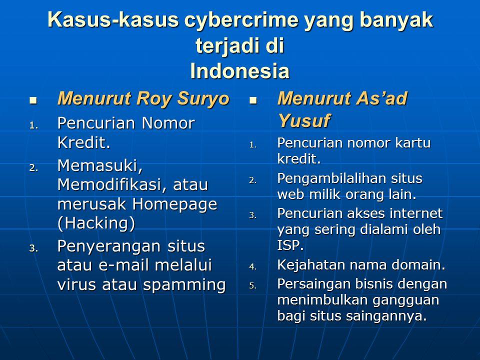 Kasus-kasus cybercrime yang banyak terjadi di Indonesia Menurut Roy Suryo Menurut Roy Suryo 1. Pencurian Nomor Kredit. 2. Memasuki, Memodifikasi, atau