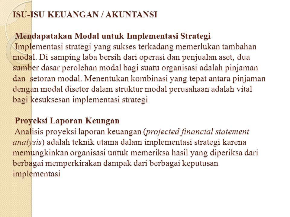 ISU-ISU KEUANGAN / AKUNTANSI Mendapatakan Modal untuk Implementasi Strategi Implementasi strategi yang sukses terkadang memerlukan tambahan modal. Di