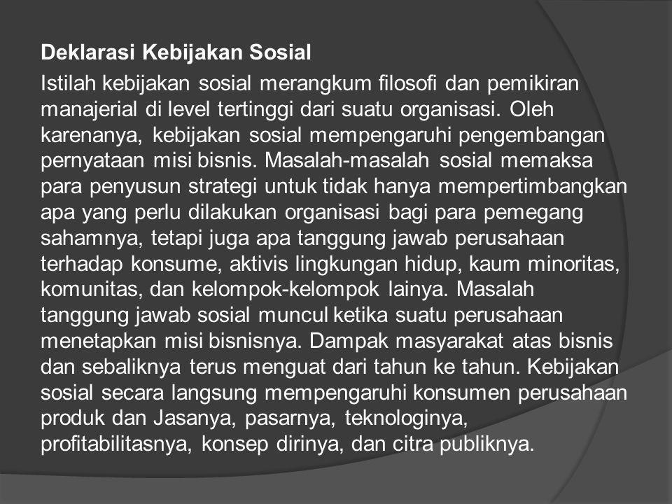 Deklarasi Kebijakan Sosial Istilah kebijakan sosial merangkum filosofi dan pemikiran manajerial di level tertinggi dari suatu organisasi. Oleh karenan