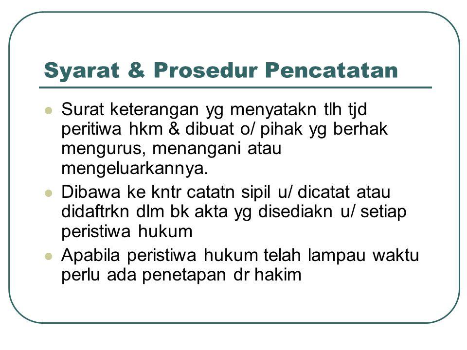 Syarat & Prosedur Pencatatan Surat keterangan yg menyatakn tlh tjd peritiwa hkm & dibuat o/ pihak yg berhak mengurus, menangani atau mengeluarkannya.