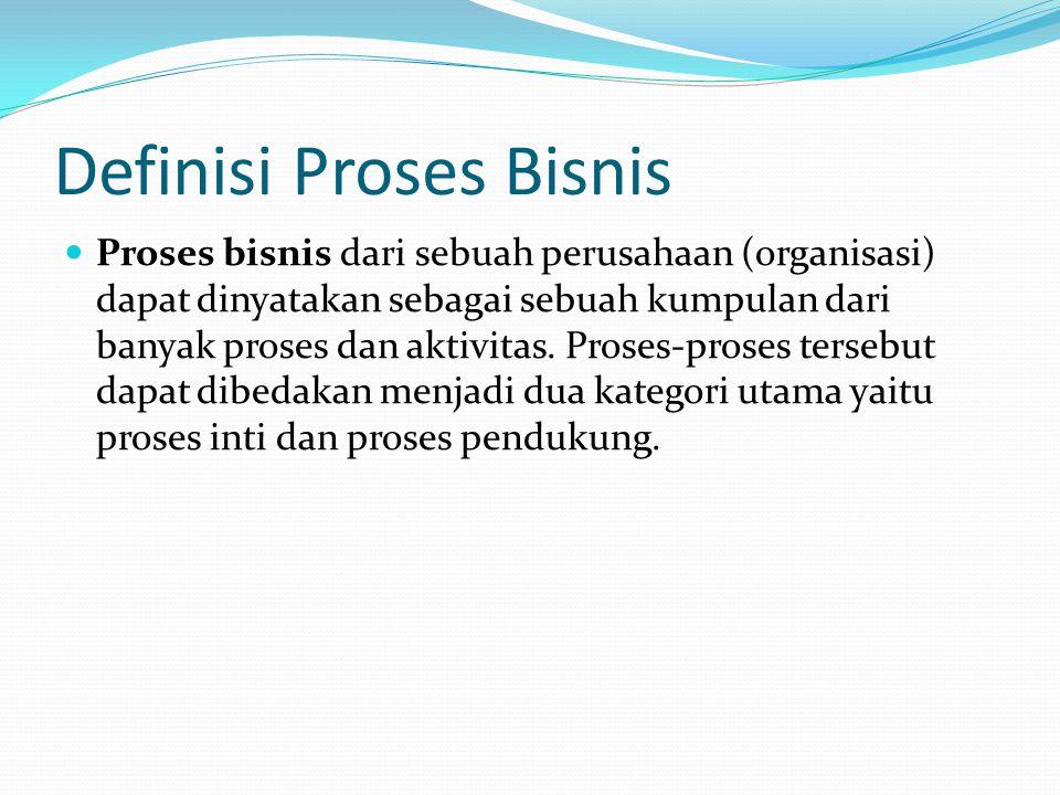 Definisi Proses Bisnis Proses bisnis dari sebuah perusahaan (organisasi) dapat dinyatakan sebagai sebuah kumpulan dari banyak proses dan aktivitas. Pr