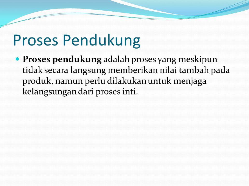 Proses Pendukung Proses pendukung adalah proses yang meskipun tidak secara langsung memberikan nilai tambah pada produk, namun perlu dilakukan untuk m