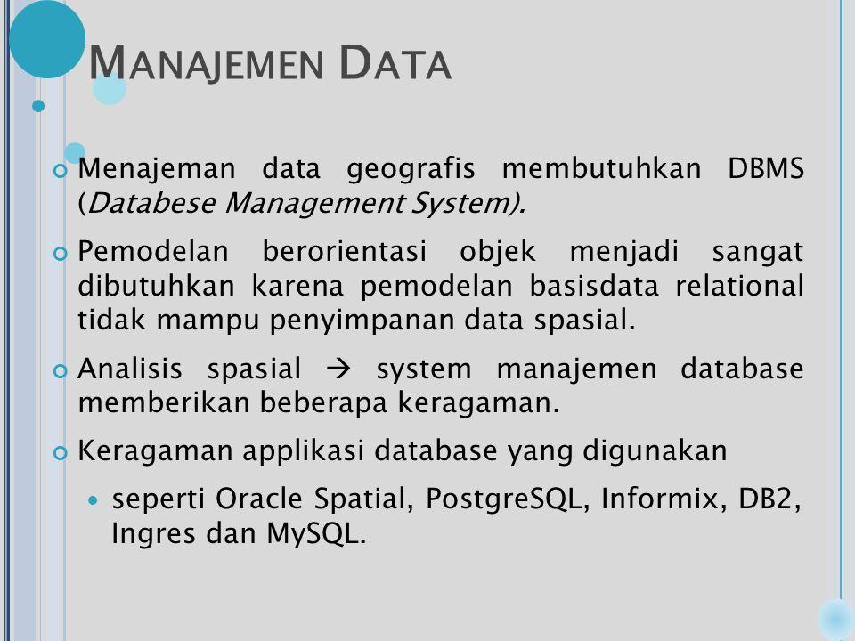 M ANAJEMEN D ATA Menajeman data geografis membutuhkan DBMS (Databese Management System).