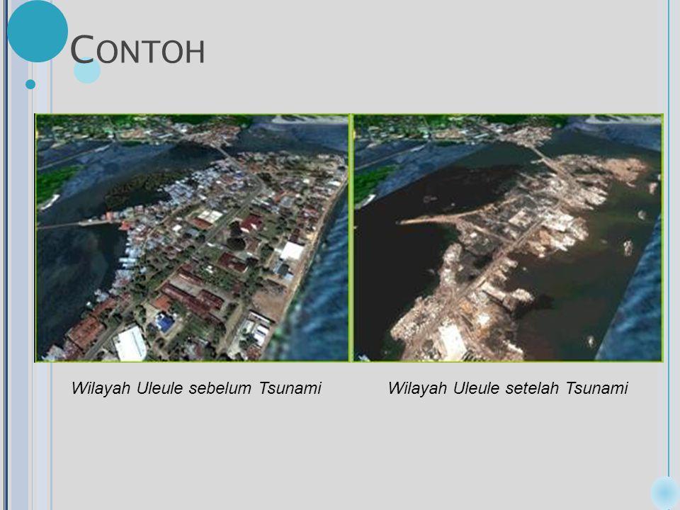 C ONTOH Wilayah Uleule sebelum TsunamiWilayah Uleule setelah Tsunami