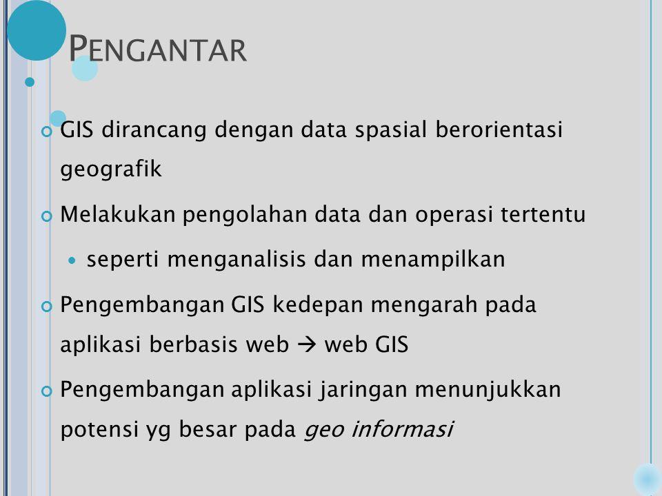 P ENGANTAR GIS dirancang dengan data spasial berorientasi geografik Melakukan pengolahan data dan operasi tertentu seperti menganalisis dan menampilkan Pengembangan GIS kedepan mengarah pada aplikasi berbasis web  web GIS Pengembangan aplikasi jaringan menunjukkan potensi yg besar pada geo informasi