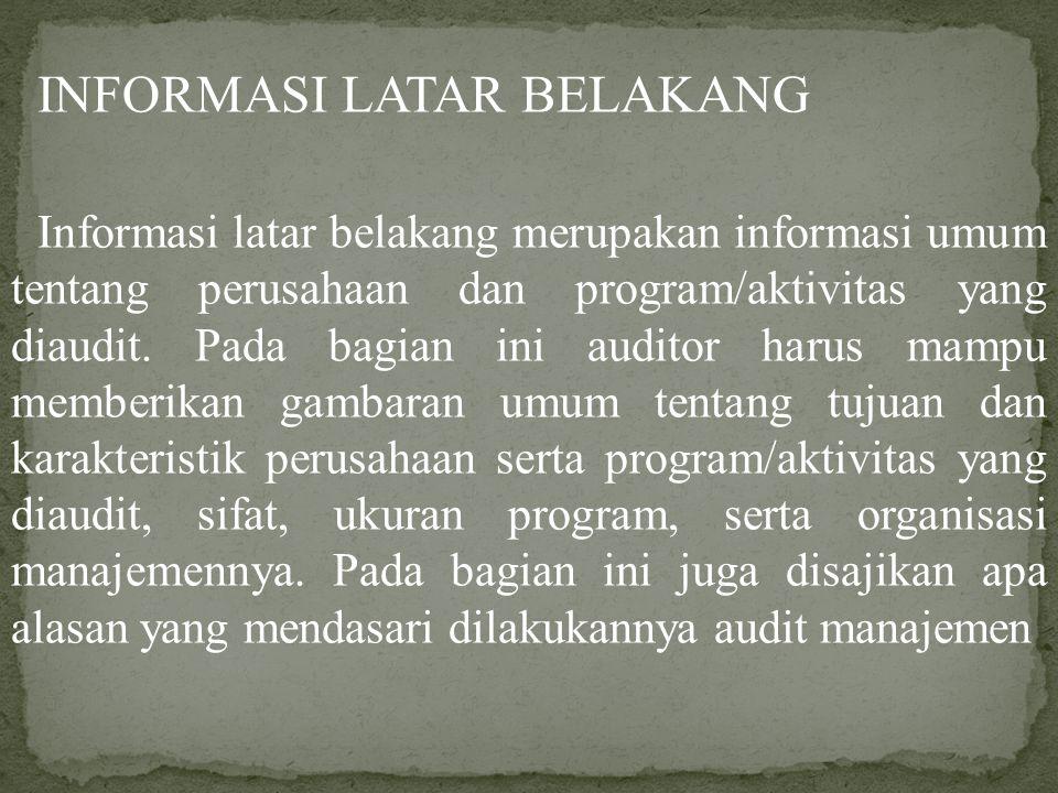 INFORMASI LATAR BELAKANG Informasi latar belakang merupakan informasi umum tentang perusahaan dan program/aktivitas yang diaudit. Pada bagian ini audi