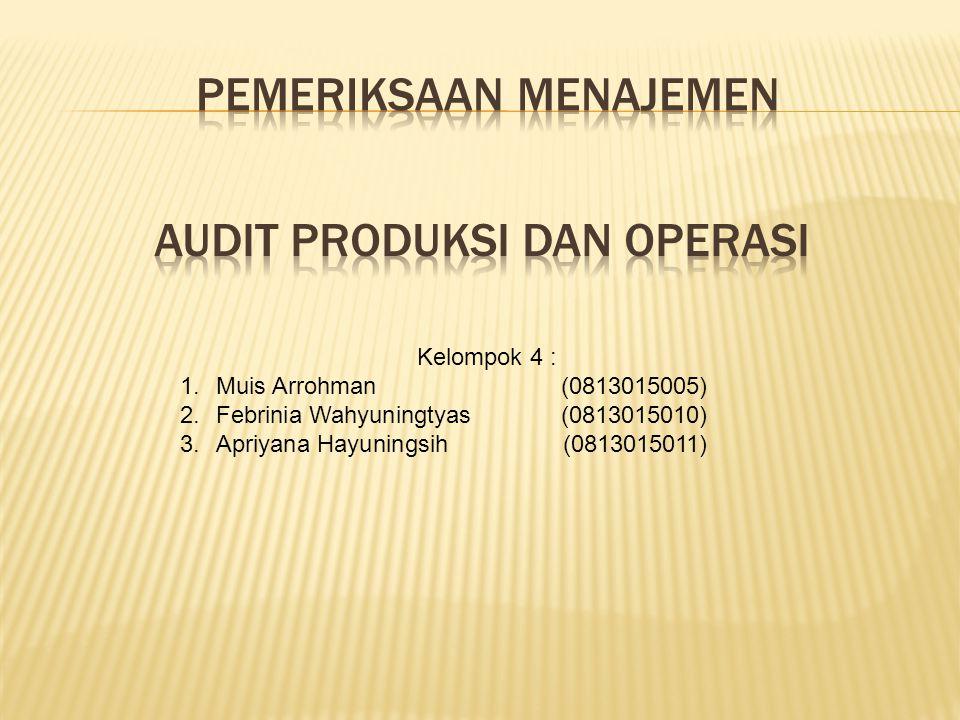 Audit Produksi dan Operasi A.