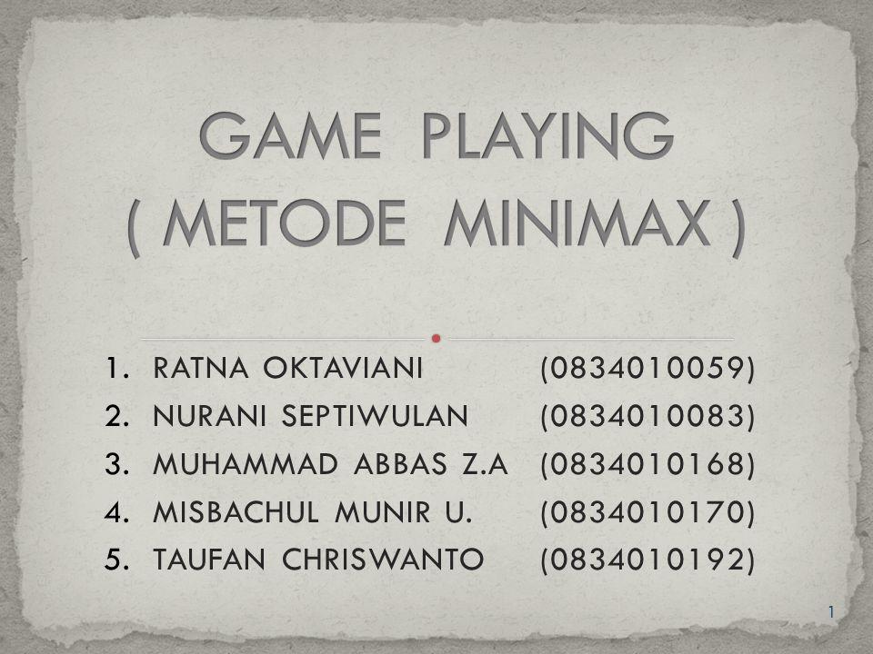 2 Pada teori game playing ini berisi mengenai metode- metode pencarian minimax.