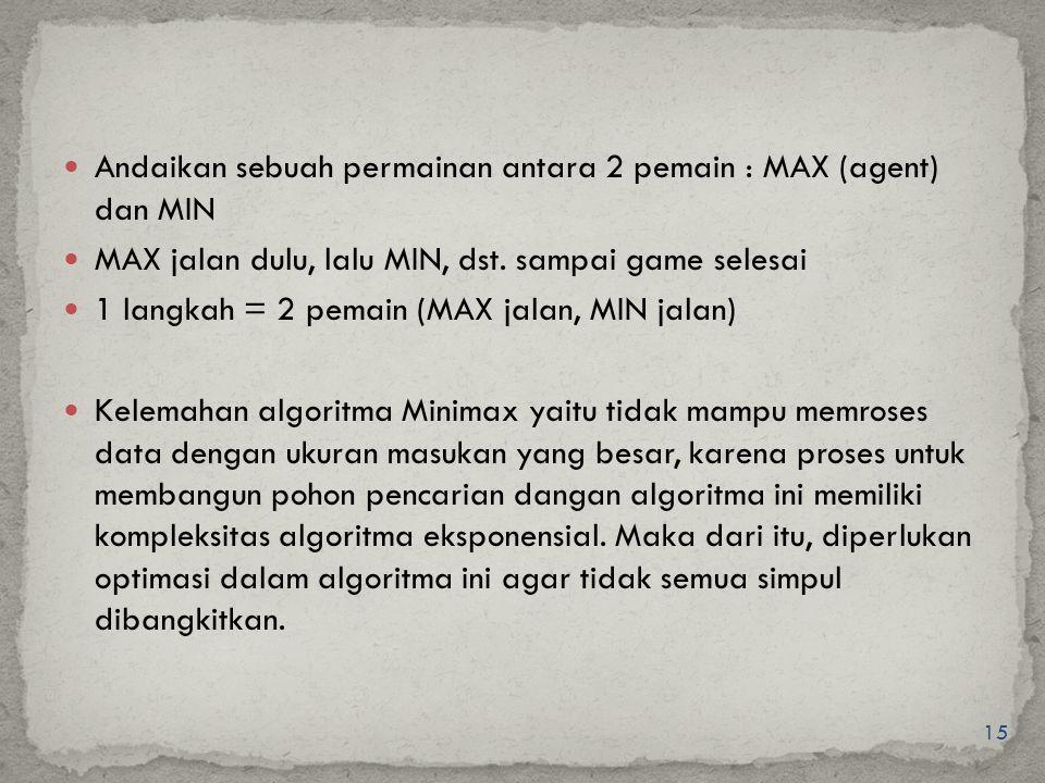 15 Andaikan sebuah permainan antara 2 pemain : MAX (agent) dan MIN MAX jalan dulu, lalu MIN, dst. sampai game selesai 1 langkah = 2 pemain (MAX jalan,