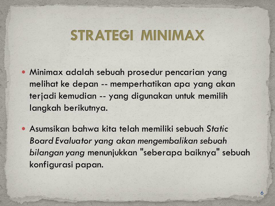 6 Minimax adalah sebuah prosedur pencarian yang melihat ke depan -- memperhatikan apa yang akan terjadi kemudian -- yang digunakan untuk memilih langk