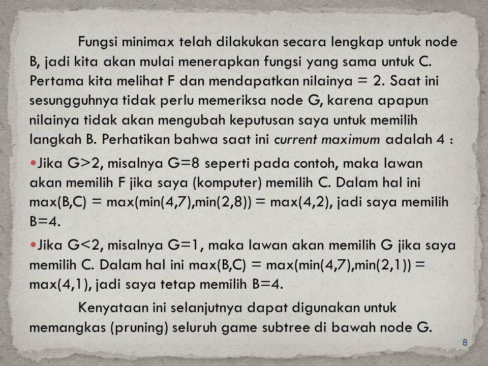 8 Fungsi minimax telah dilakukan secara lengkap untuk node B, jadi kita akan mulai menerapkan fungsi yang sama untuk C. Pertama kita melihat F dan men