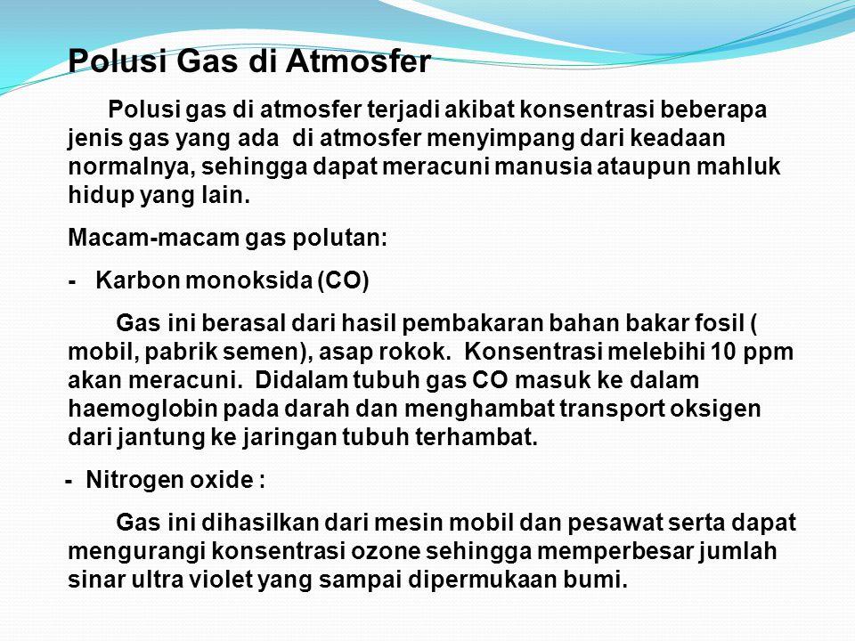 Polusi Gas di Atmosfer Polusi gas di atmosfer terjadi akibat konsentrasi beberapa jenis gas yang ada di atmosfer menyimpang dari keadaan normalnya, se