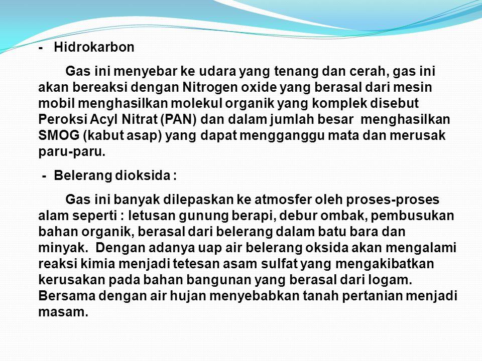 - Hidrokarbon Gas ini menyebar ke udara yang tenang dan cerah, gas ini akan bereaksi dengan Nitrogen oxide yang berasal dari mesin mobil menghasilkan