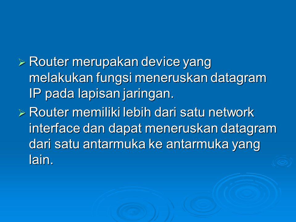  Router merupakan device yang melakukan fungsi meneruskan datagram IP pada lapisan jaringan.