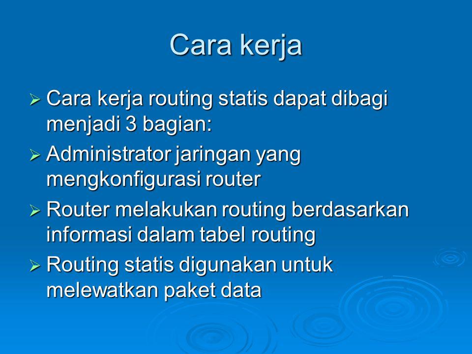 Cara kerja  Cara kerja routing statis dapat dibagi menjadi 3 bagian:  Administrator jaringan yang mengkonfigurasi router  Router melakukan routing berdasarkan informasi dalam tabel routing  Routing statis digunakan untuk melewatkan paket data