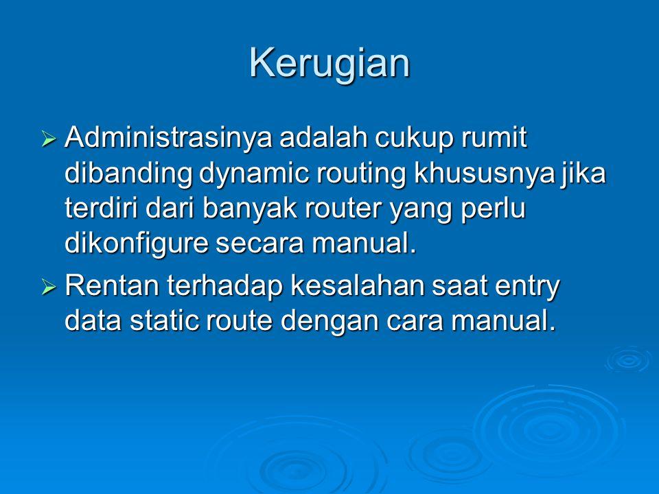 Kerugian  Administrasinya adalah cukup rumit dibanding dynamic routing khususnya jika terdiri dari banyak router yang perlu dikonfigure secara manual.