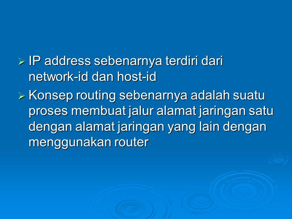  IP address sebenarnya terdiri dari network-id dan host-id  Konsep routing sebenarnya adalah suatu proses membuat jalur alamat jaringan satu dengan alamat jaringan yang lain dengan menggunakan router