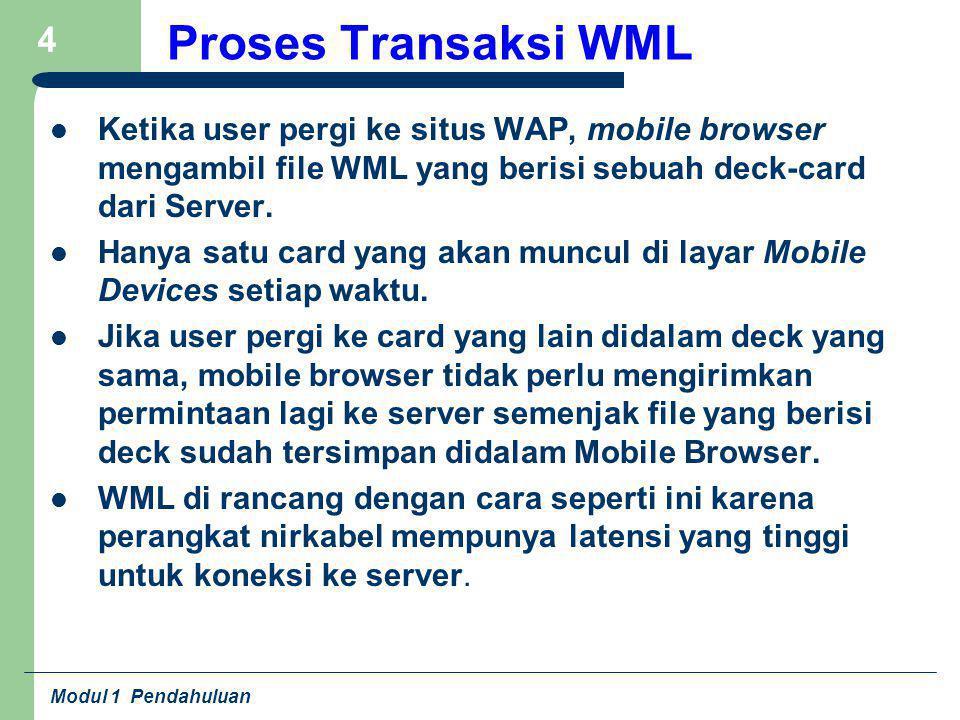 Modul 1 Pendahuluan 15 Elemen / Lanjutan Tidak seperti transisional HTML 4.01, teks tidak dapat diletakkan secara langsung didalam pasangan tag.